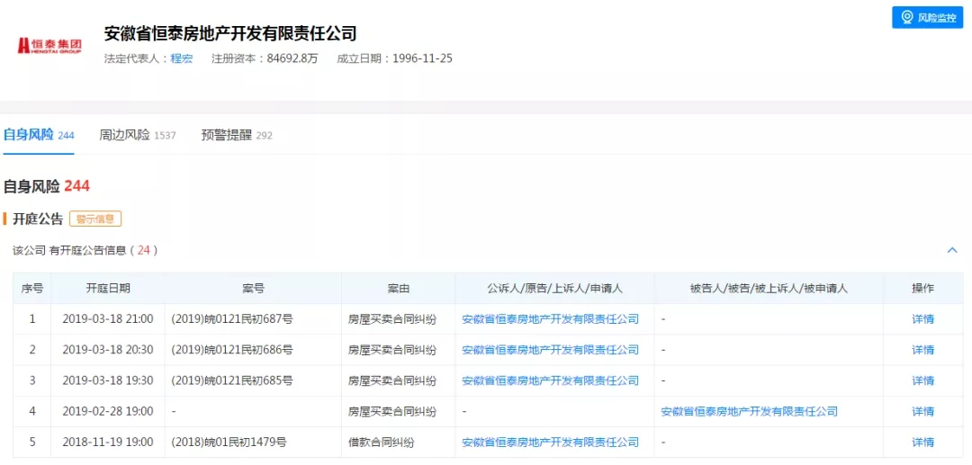 恒泰地产1.17亿元商票遭拒付