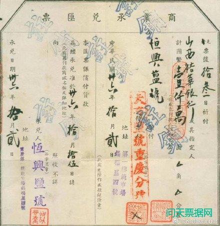 民国时期商业承兑汇票