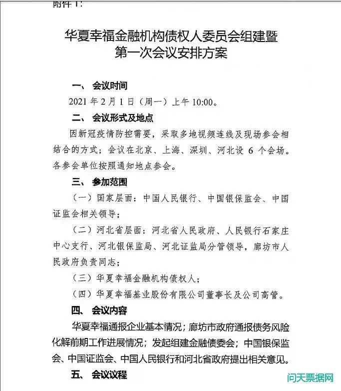 华夏幸福债委会第一次沟通会议纪要