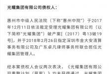 光耀集团宣布破产